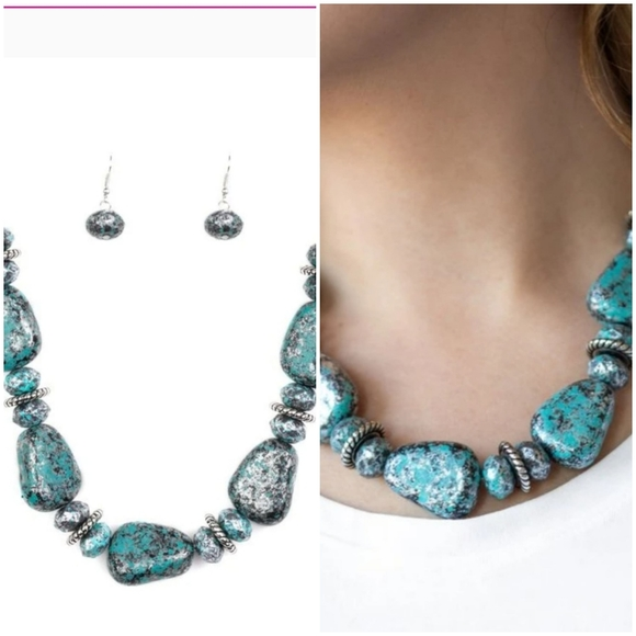 PREHISTORIC FASHIONISTA BLUE NECKLACE/EARRING SET